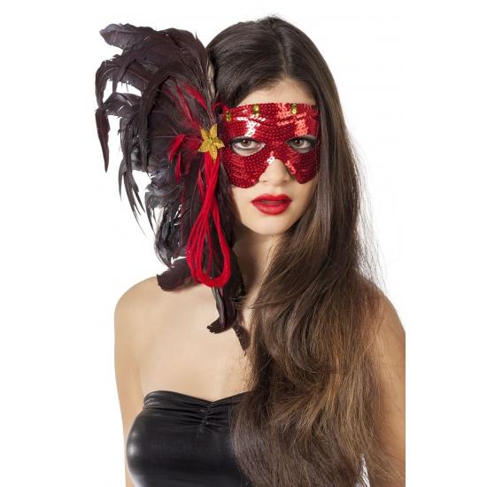 Luxe oogmasker met rode pailletten en veren