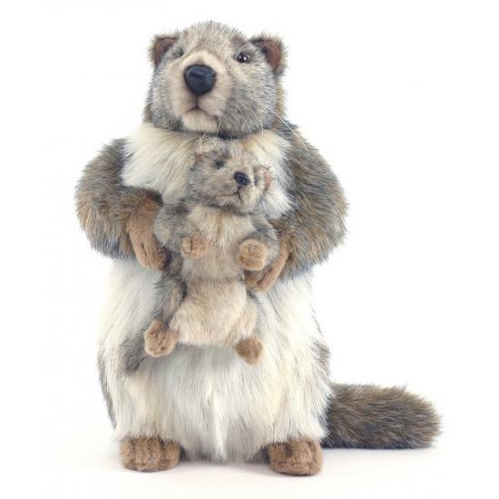 Marmot met baby knuffel 35 cm