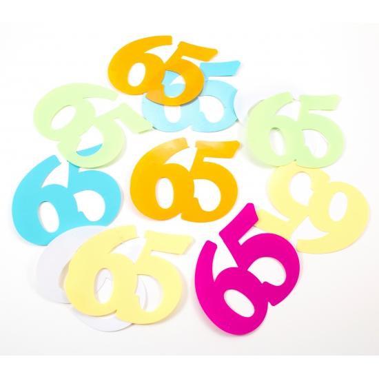 Mega confetti 65 jaar gekleurd
