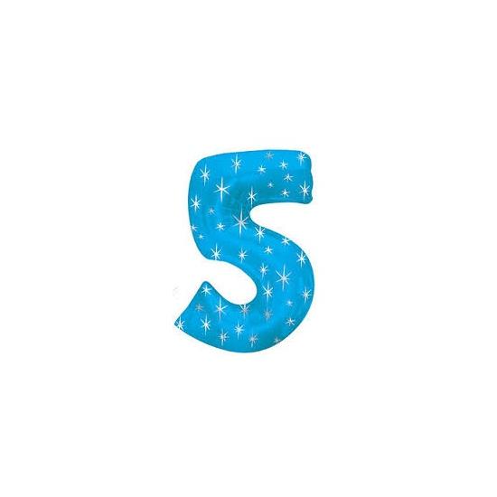 Mega folie ballon cijfer 5 blauw