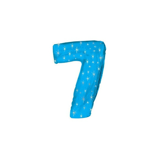 Mega folie ballon cijfer 7 blauw