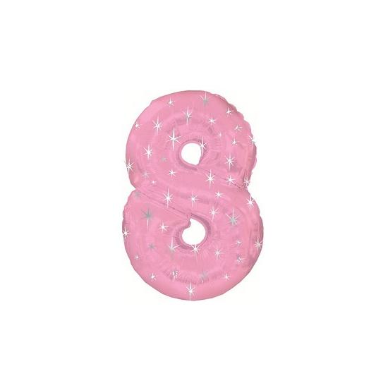 Mega folie ballon cijfer 8 roze