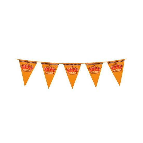 Mega oranje vlaggenlijn 8 meter van plastic