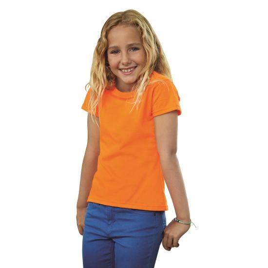 Meisjes shirt oranje met korte mouwen