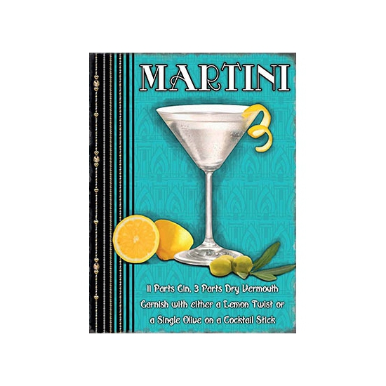 Metalen plaat Martini cocktail