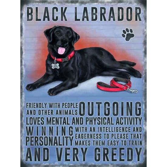 Metalen plaat zwarte Labrador