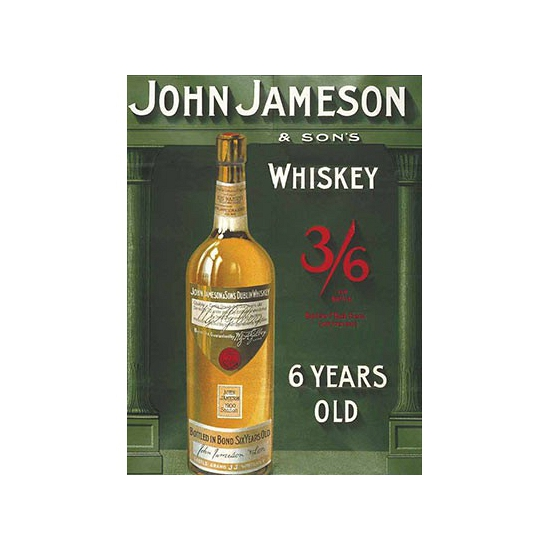 Metalen plaatje John Jameson Whiskey