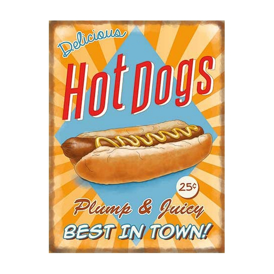 Metalen platen Hot Dogs