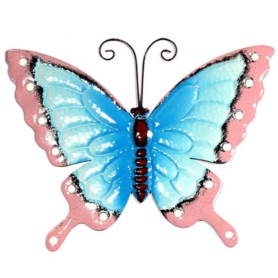 Metalen tuin vlinder blauw roze 30 cm