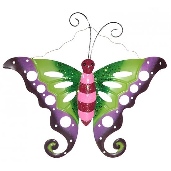 Metalen vlinder groen roze voor in de tuin 41 cm