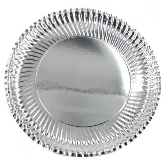 Metallic zilveren bordjes 23 cm