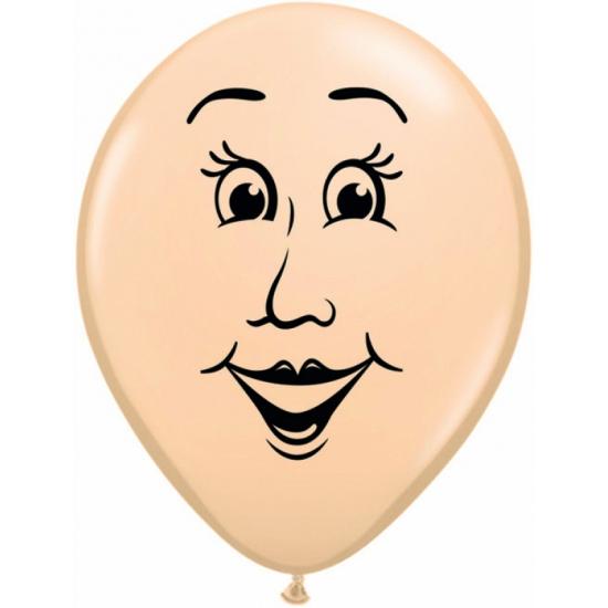 Mini ballonnetje met vrouwen gezicht 13 cm