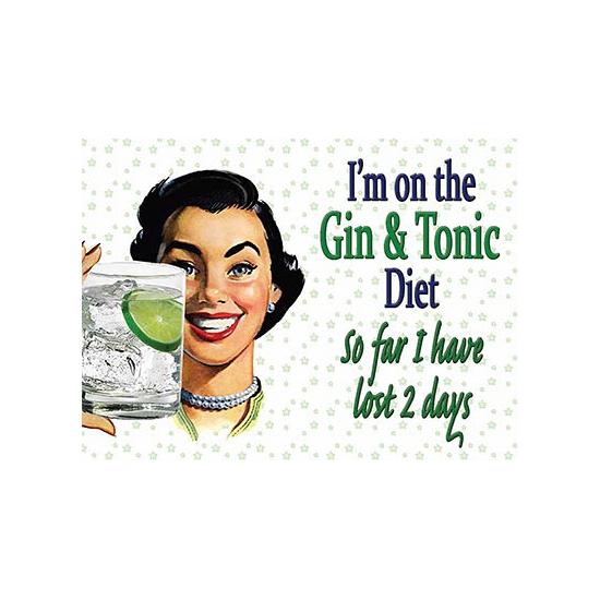 Mini muurplaatje Gin dieet 15x20cm