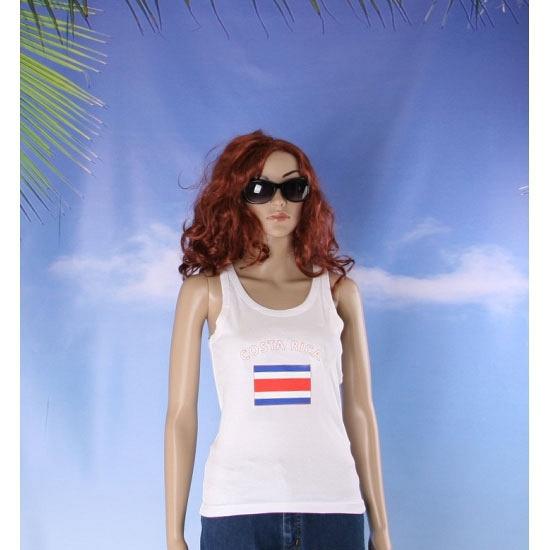 Mouwloos shirt met vlag Costa Rica print voor dames
