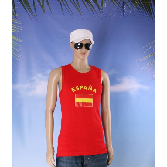 Mouwlose shirts met vlag van Spanje heren