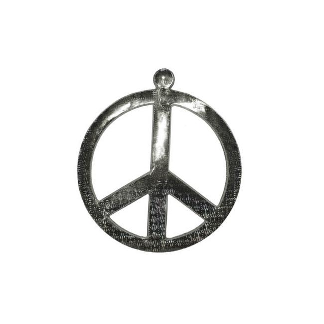 Muurdecoratie peace teken zilver