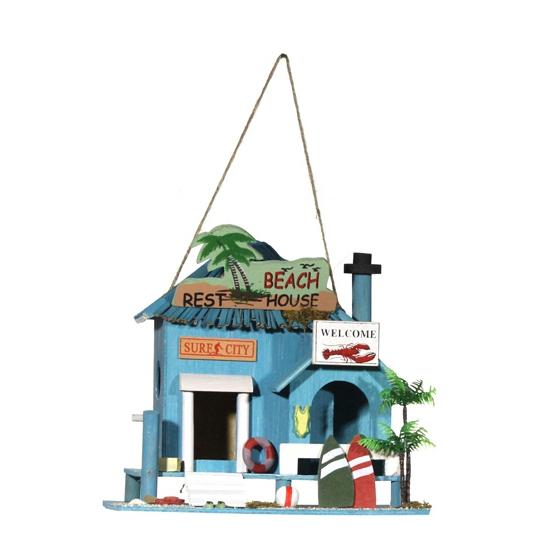 Nestkast strandhuisje blauw 21 cm