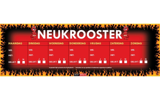 Neukrooster  per week Sticky Devil sticker