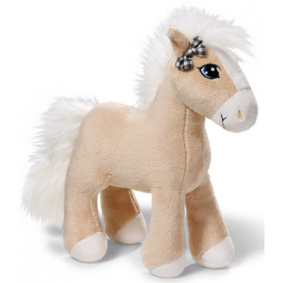 Nici beige paardje met geruit strikje 25 cm