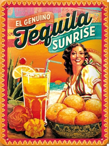 Nostalgisch muurplaatje Tequila Sunrise 15 x 20 cm