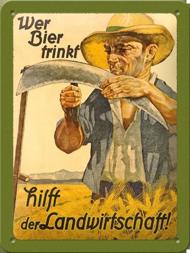 Nostalgisch muurplaatje Wer Bier Trinkt 15 x 20 cm