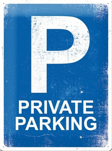 Nostalgische muurplaat Private Parking 30 x 40 cm