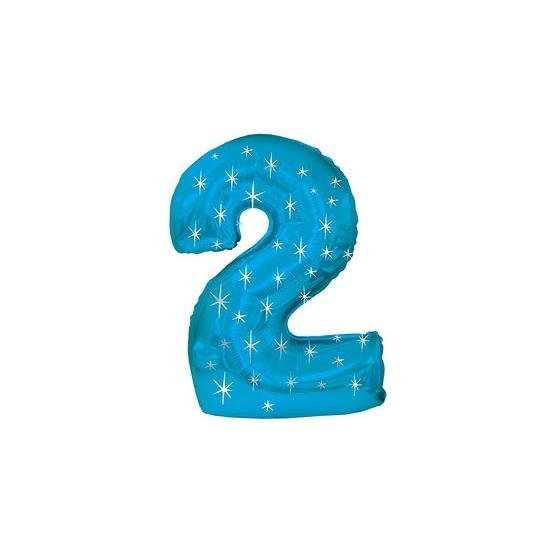 Nummer ballonnen 2 blauw