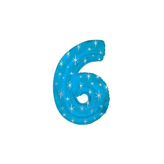 Nummer ballonnen 6 blauw