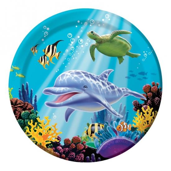 Oceaan thema feestbordjes 8 stuks