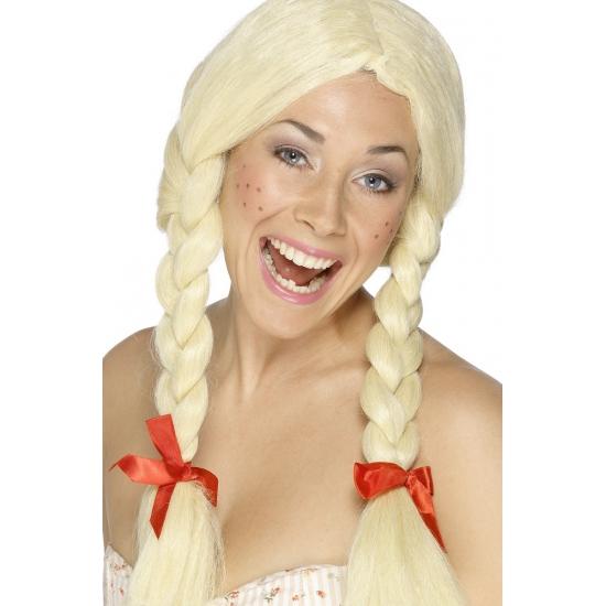 Oktoberfest Blonde damespruik met vlechten