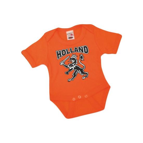 Oranje baby rompertje met zwarte leeuw