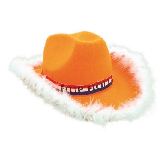 Oranje cowboy hoed met bontrand