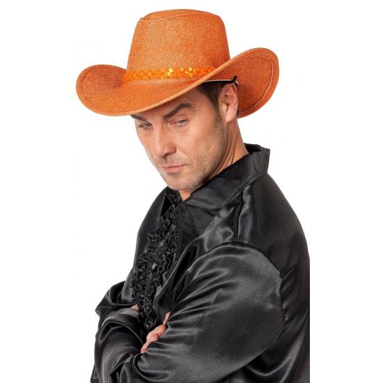 Oranje cowboyhoeden met pailletten
