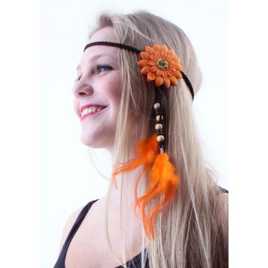 Oranje hoofdbandje met bloem en veren
