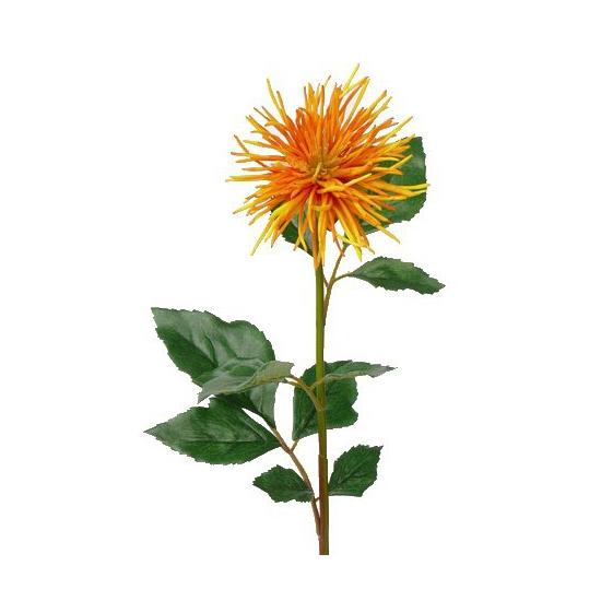 Oranje met gele Chrysant nep bloem 71 cm