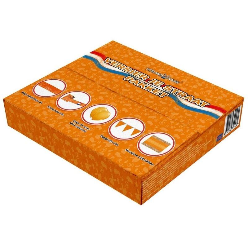 Oranje pakket met decoratie voor de straat