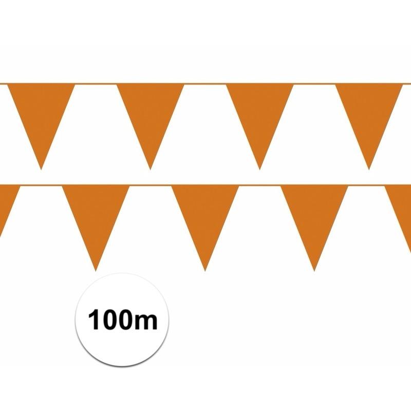 Oranje plastic vlaggenlijn100 meter budget