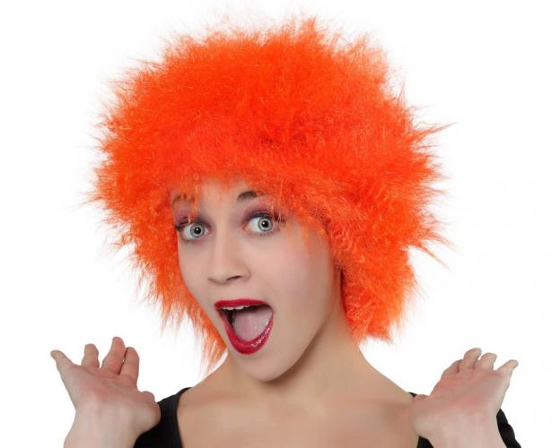 Oranje pruik met wild haar