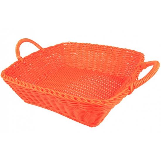 Oranje rieten mandje vierkant 25 cm
