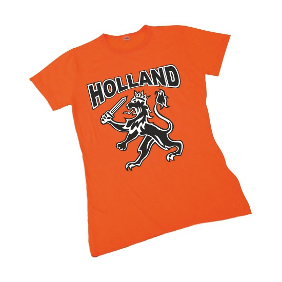 Oranje t shirt met leeuw voor dames
