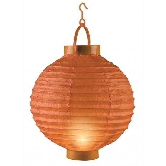 Oranje versiering lampion met licht 20 cm