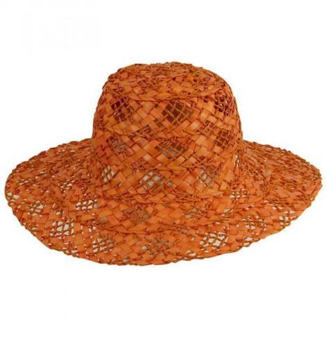 Oranje zomerse strohoed voor dames