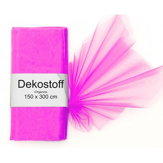 Organza stof fuchsia roze op rol 150 x 300 cm