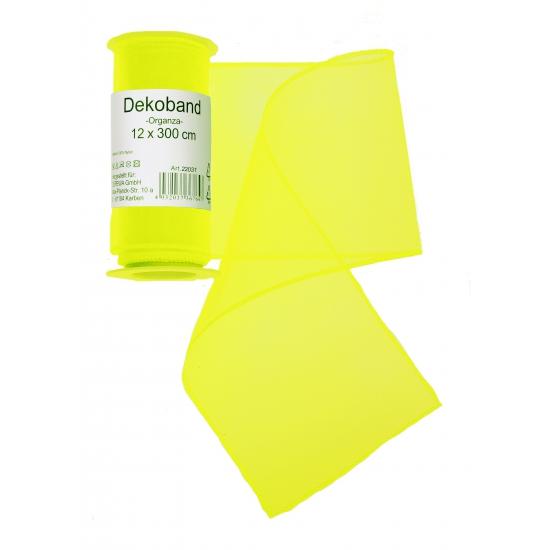 Organza tule strook neon geel 12 x 300 cm