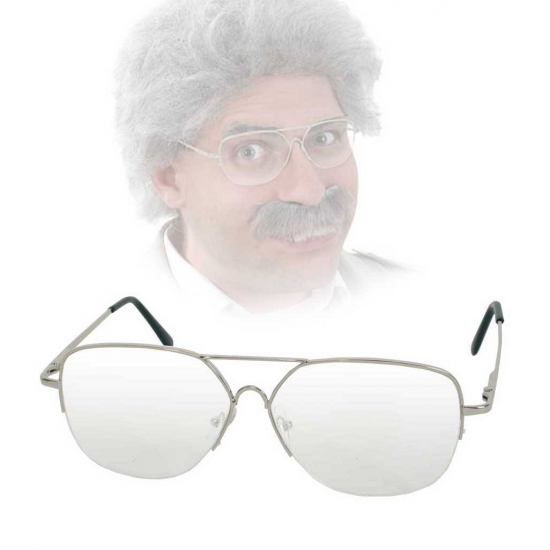 Ouderwetse bril met transparante glazen