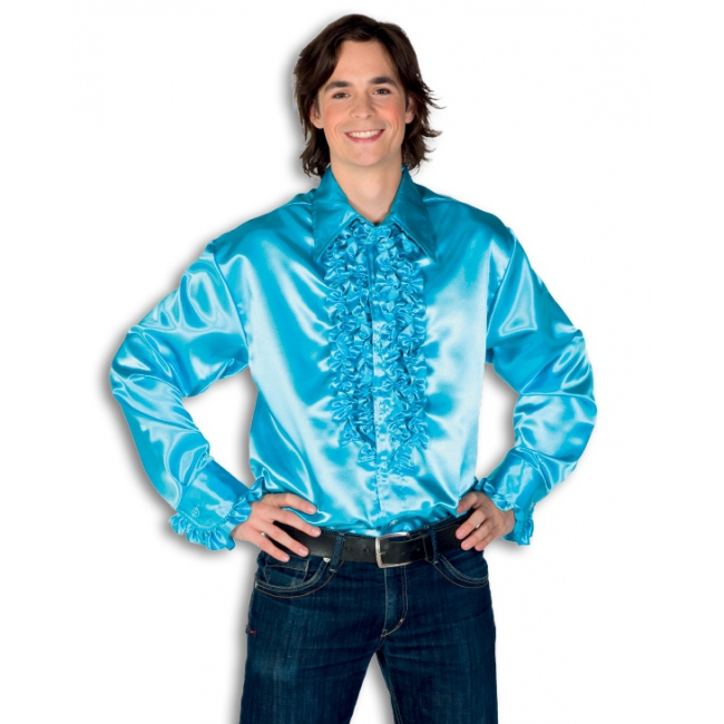 Overhemd turquois met rouches heren