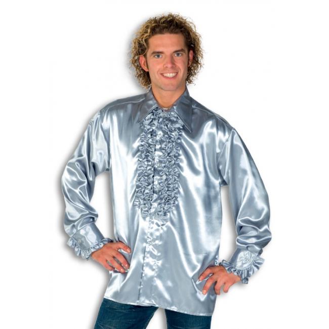 Overhemd zilver met rouches heren