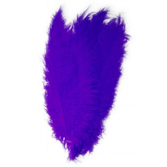 Paarse decoratie veren 50 cm