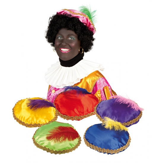 Paarse Zwarte Piet baret met veer