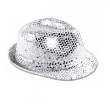 Pailletten hoedje zilver met LED licht